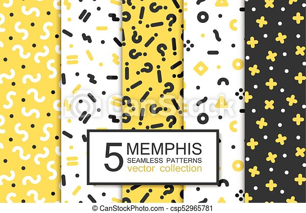Collection of swatches memphis patterns - seamless design  Fashion 80-90s   Abstract trendy vector backgrounds