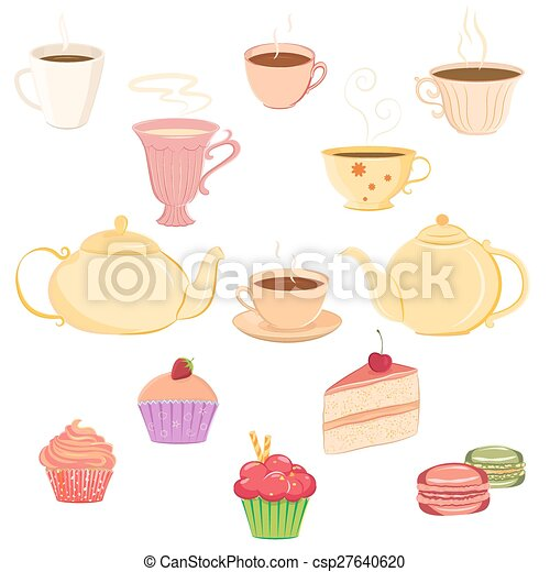 Collection of teacups, teapots and sweets - csp27640620