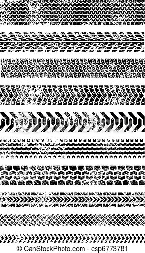 Collection of Ten High Quality Grunge Tire tracks - csp6773781