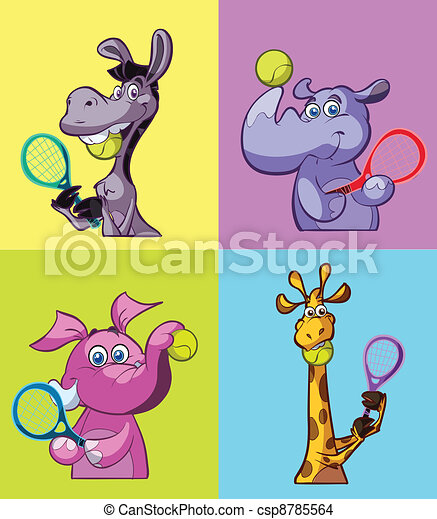 collection of tennis playing animal - csp8785564