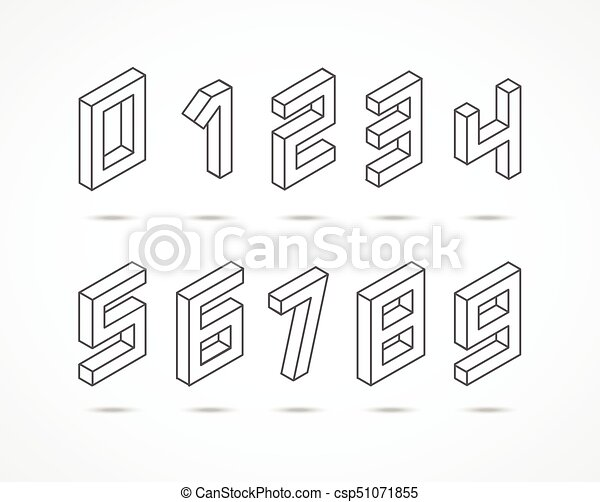 Collection of the isometric numbers 3d illustration - csp51071855