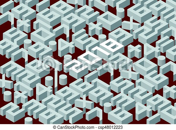 Collection of the isometric numbers and new year 2018. - csp48012223