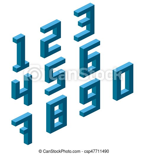 Collection of the isometric numbers, isometric grid 26.57 degree - csp47711490