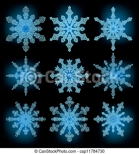collection of the snowflakes - csp11784730