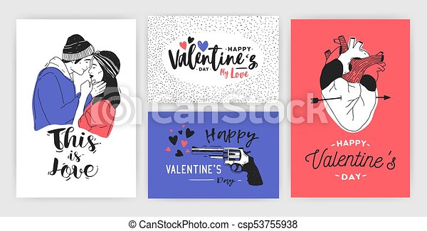 Collection of Valentine s day greeting card, party invitation or flyer templates with hand drawn kissing young couple, anatomical heart and inscriptions. Colorful trendy festive vector illustration. - csp53755938