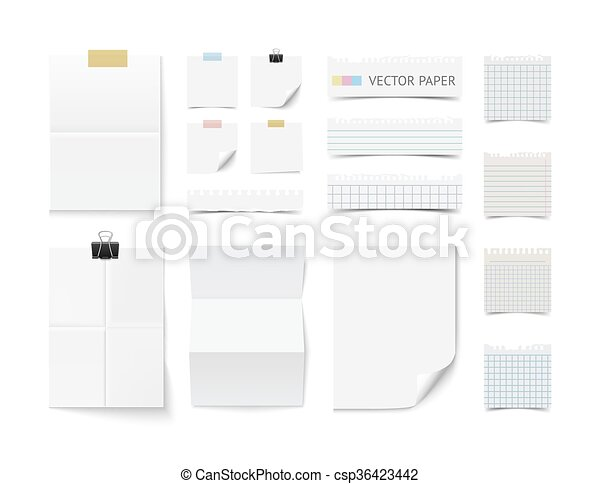 Collection of various blank white paper  - csp36423442