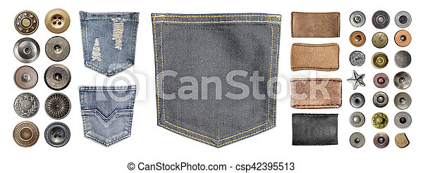 collection of various jeans parts - csp42395513