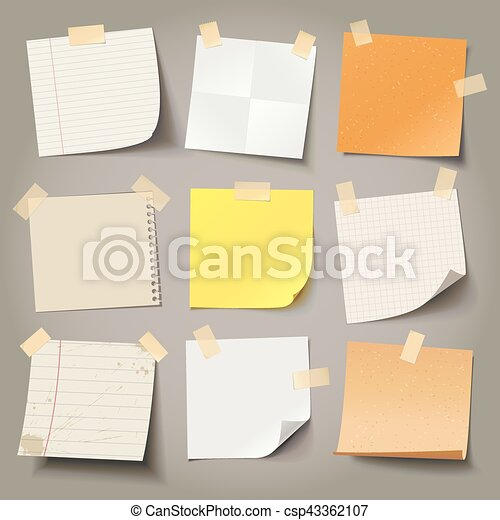 Collection of various note papers, ready for your message - csp43362107