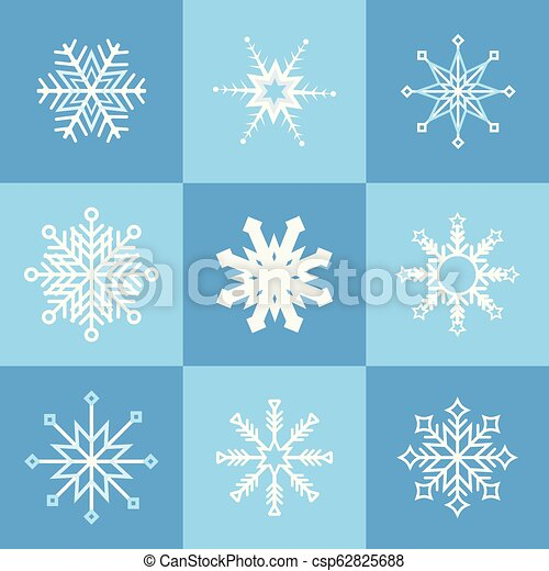 Collection of various snowflakes - csp62825688