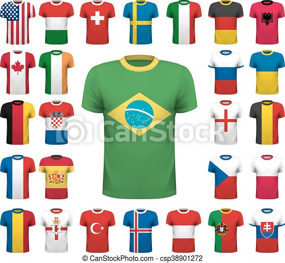 Collection of various soccer jerseys. National shirt design. Vector illustration - csp38901272