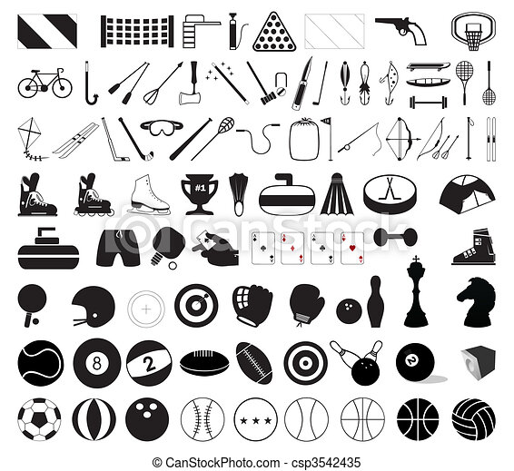 Collection of various sports accessories. A vector illustration - csp3542435