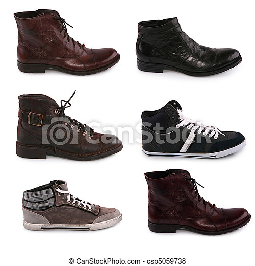 of various types of male shoes isolated