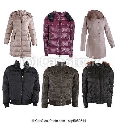 Collection of various types of winter jackets - csp5059814