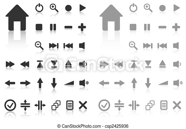 Collection of vector buttons with reflection. Active and inactive. More in my gallery. - csp2425936