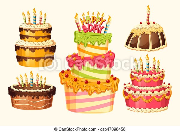 Collection Of Vector Cartoon Birthday Cakes With Candles