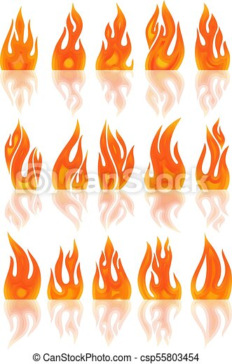 Collection of vector fires isolated on white - csp55803454