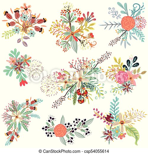 Collection Of Vector Florals With Rustic Flowerseps