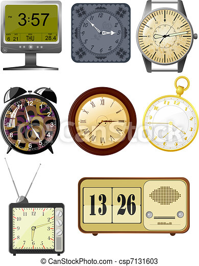 Collection of vector illustrations clock - csp7131603