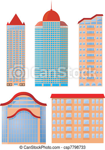 Collection of vector illustrations of apartment buildings - csp7798733