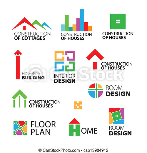 collection of vector logos construction and repair of houses - csp13984912