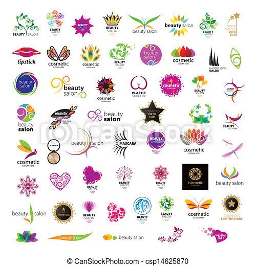 Collection of vector logos for cosmetics beauty salons - csp14625870