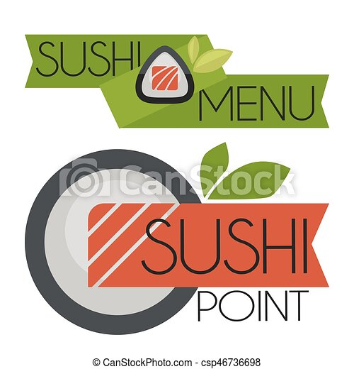 Collection of vector logos  sushi. - csp46736698