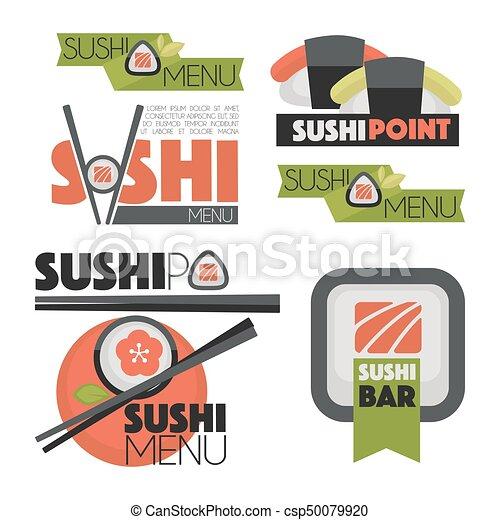 Collection of vector logos  sushi. - csp50079920