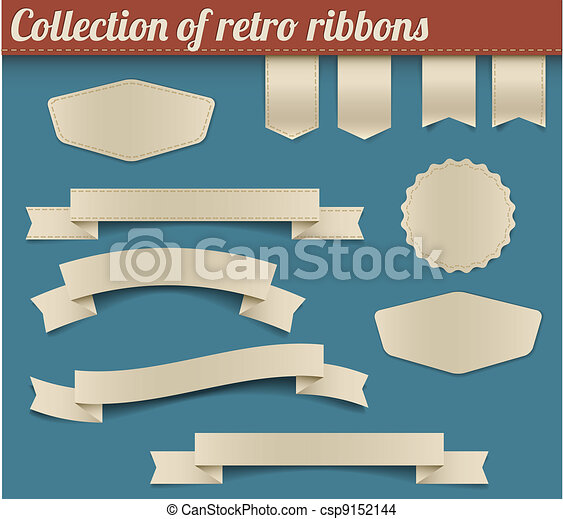 Collection of vector retro ribbons and tags - csp9152144