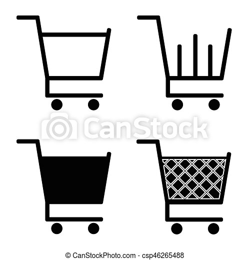 collection of vector shopping cart icons vector search clip art rh canstockphoto com shopping cart icon vector white shopping cart icon vector free