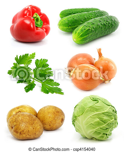 collection of vegetable fruits isolated on white - csp4154040