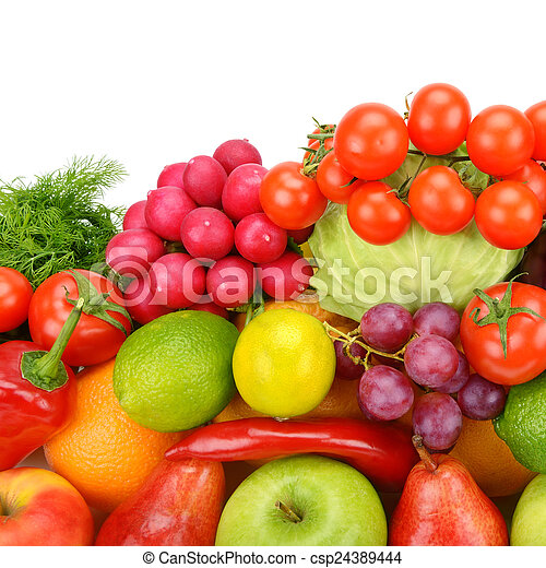 Collection of vegetables and fruits isolated on white background - csp24389444