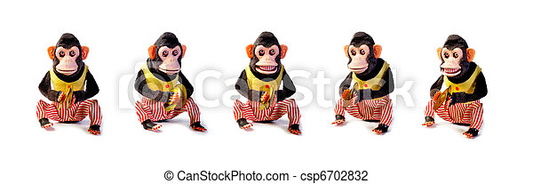 Collection of Vintage antique monkeys isolated on white background   - csp6702832