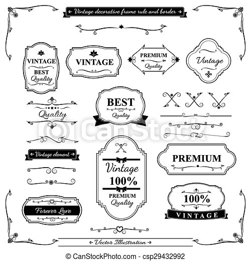 vintage frame border. Collection Of Vintage Frame Border Rule And Design Element - Csp29432992 L