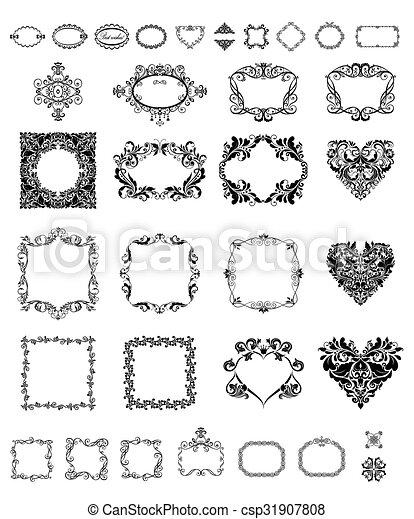 Collection of vintage frames and vignette - csp31907808