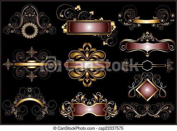 Collection of vintage gold frames - csp23337575