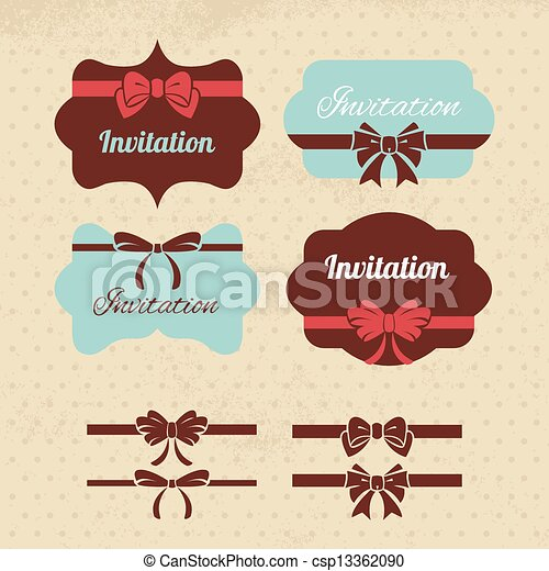 Collection of vintage labels, ribbons and bows Elements for design - csp13362090