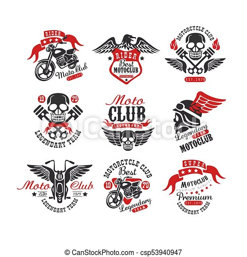 Collection Of Vintage Motorcycle Emblems Original Monochrome Label