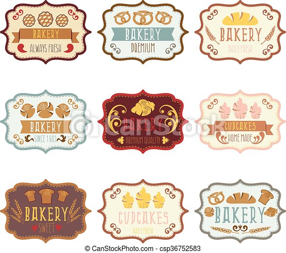 collection of vintage retro bakery logo labels with vector rh canstockphoto com golden labels vector free free vector labels shapes
