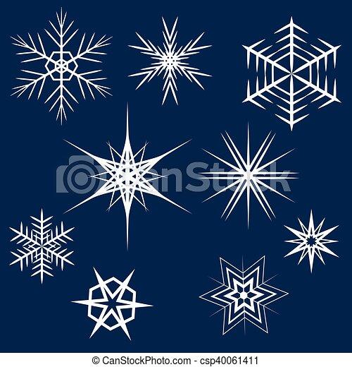Collection of White Snowflakes. - csp40061411