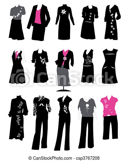 Collection of women\'s business suits, office style, dress code - csp3767208