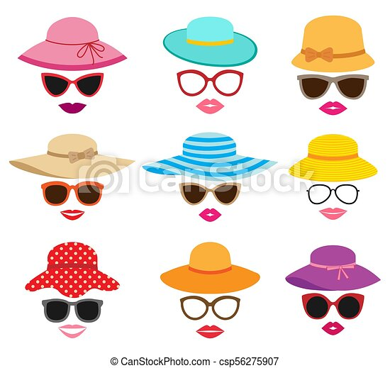 Collection of women s summer hats. Lady photo booth vector set with ... 954d2bada096