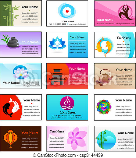 Collection of Yoga and Zen business cards - csp3144439