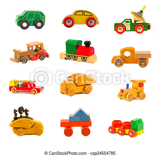 collection old wooden  car  toys - csp24554785