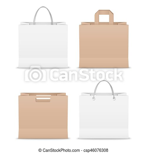 Collection paper shopping bags template vector eps 10.