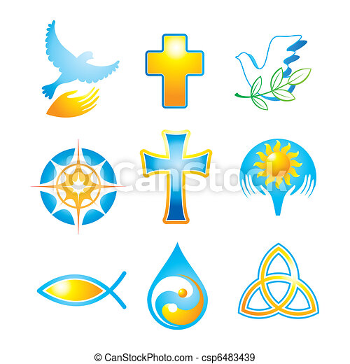 collection religious symbols collection of religious icons symbols rh canstockphoto com Christian Graphics and Clip Art Cool Christian Symbols
