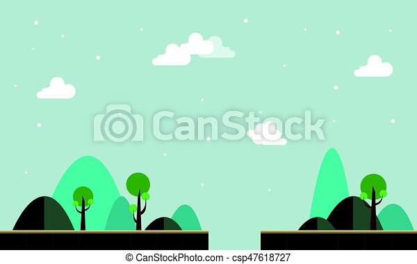 Line Art Illustration Style : Collection scenery background game style vector flat