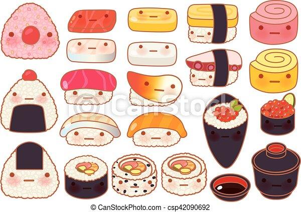 Collection set of lovely baby japanese food doodle icon, cute sushi, adorable sashimi, sweet nigiri, kawaii uramaki, girly temaki in childlike manga cartoon isolated on white - csp42090692