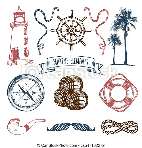 collection set sketched aventuras marítimo mão vetorial
