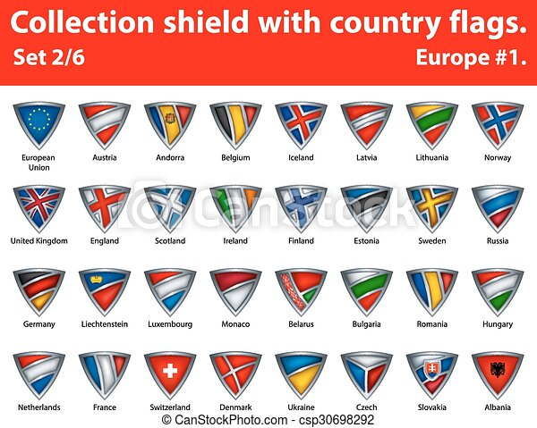 Collection shield with country flags. Part 2 of 6 - csp30698292