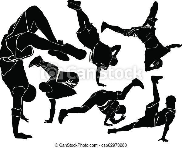 collection silhouettes breakdancer on a white background - csp62973280